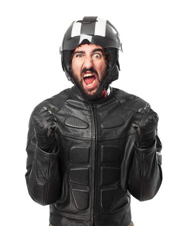 huffy: angry biker shouting Stock Photo