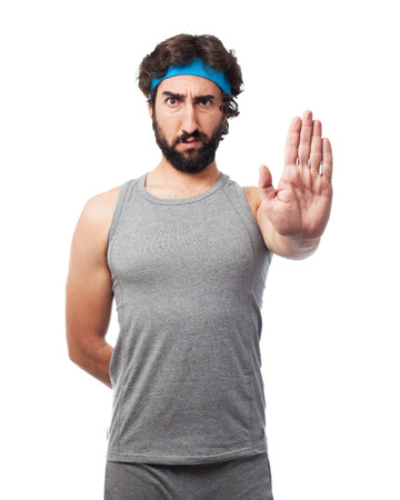 bothered: angry sport man stop gesture