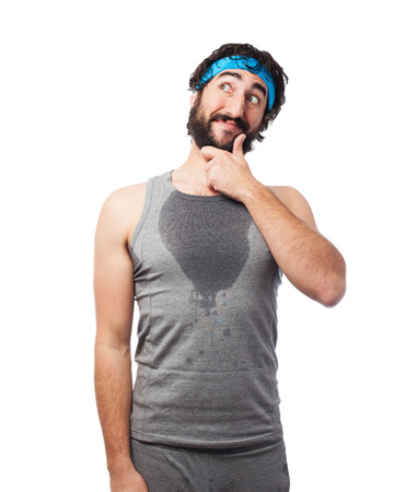 outworn: tired sport man thinking Stock Photo