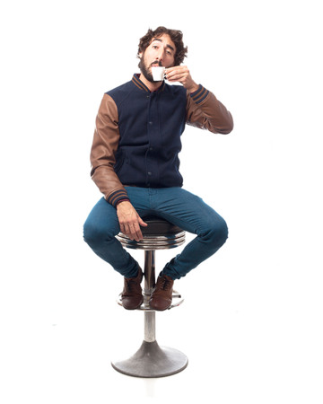 bar stool: young man with coffee bar stool