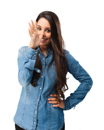 joking: happy young woman joking Stock Photo