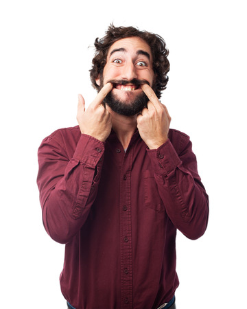 joking: happy young man joking Stock Photo
