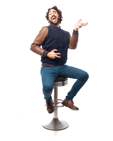 stool: young man dancing with bar stool