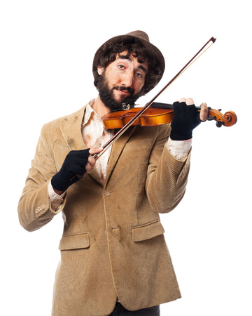 fiddle: happy homeless man with fiddle