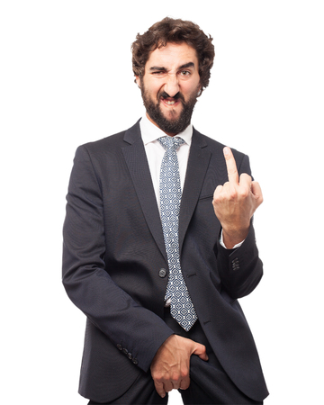 irritate: angry businessman disagree pose Stock Photo