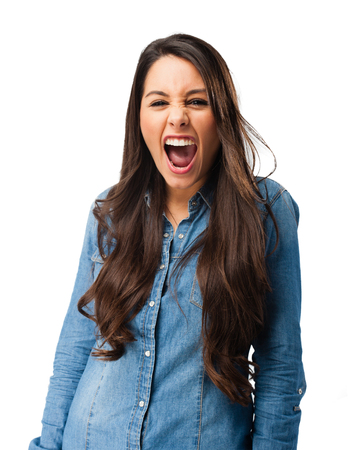 irritate: angry young woman shouting