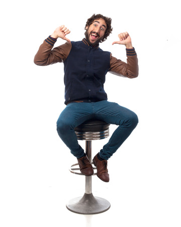 happy young man with bar stool