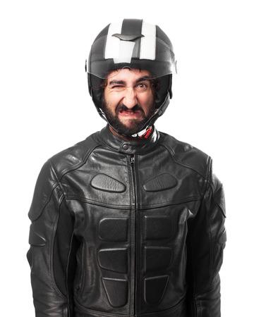 huffy: angry biker disagree Stock Photo