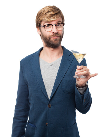 alcoholic drink: happy businessman with alcoholic drink