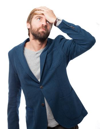 outworn: boring businessman tired pose Stock Photo