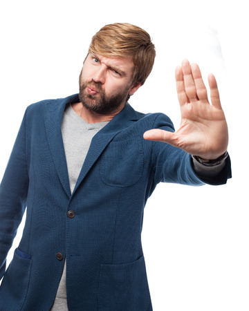 huffy: angry businessman stop gesture Stock Photo