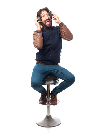 bar stool: young man with headphones bar stool