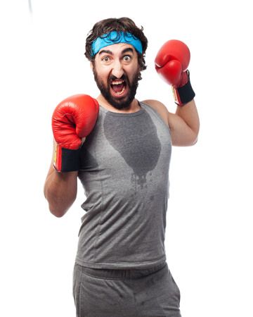 doleful: tired sport man with boxing