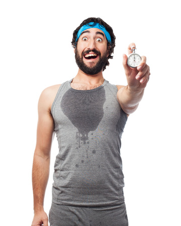 doleful: tired sport man with stopwatch