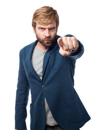 huffy: angry businessman pointing front