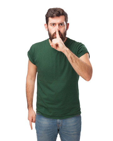huffy: angry young man silence gesture