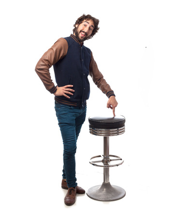 bar stool: happy young man with bar stool
