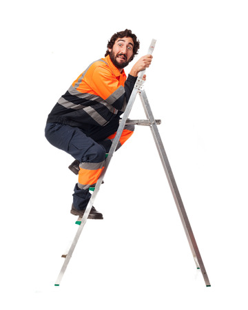 happy worker: happy worker man with stair Stock Photo