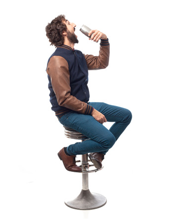 bar stool: young man with beer bar stool
