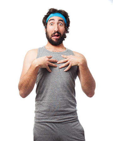 happy sport man confused Stock Photo