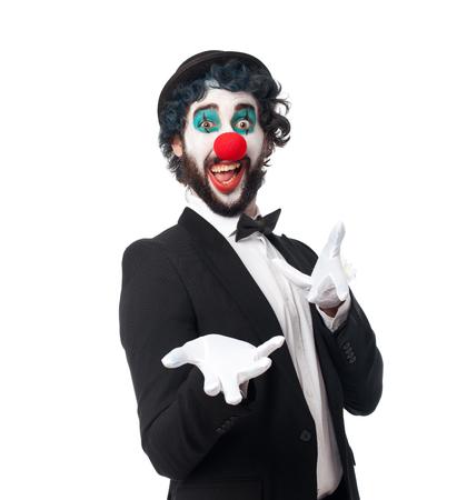 gente loca: hombre payaso loco feliz plantean