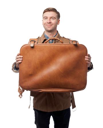 maleta: Hombre joven sorprendido con la maleta