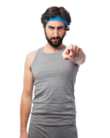 huffy: angry sport man pointing front Stock Photo