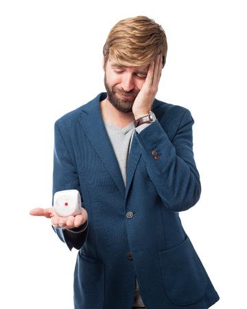 sad businessman: sad businessman with dice