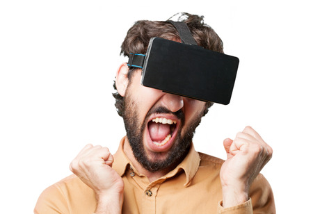 crazy man with virtual glasses.funny expression Stock Photo