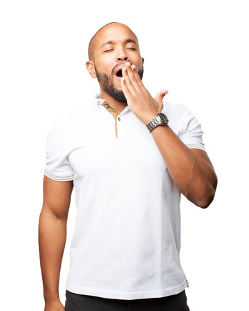 tedious: black businessman sad expression Stock Photo