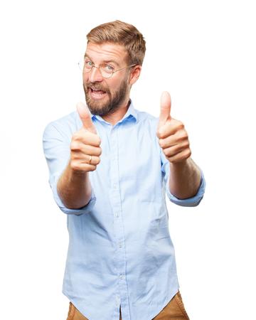 allright: blond businessman happy expression