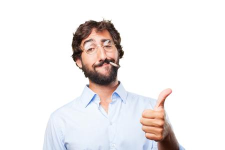allright: crazy hippie man .happy expression Stock Photo