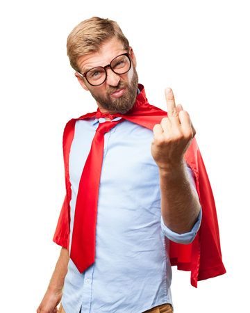 blond man hero angry expression Stock Photo