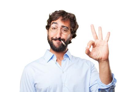relaxant: crazy hippie man .happy expression Stock Photo