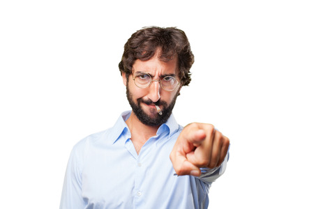 vices: crazy hippie angry expression Stock Photo