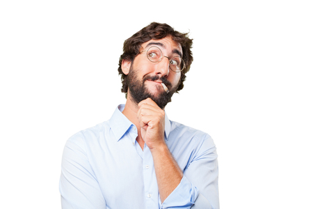 vices: crazy hippie man .happy expression Stock Photo