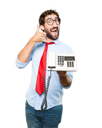 Hombre de negocios loco expresión feliz Foto de archivo - 61504304