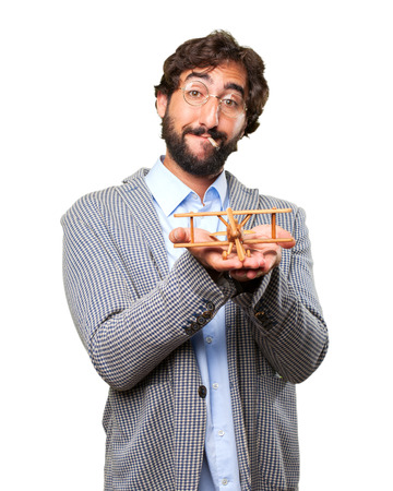 crazy hippie man .happy expression Stock Photo