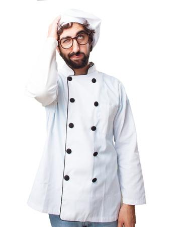 tedious: crazy chef sad expression Stock Photo