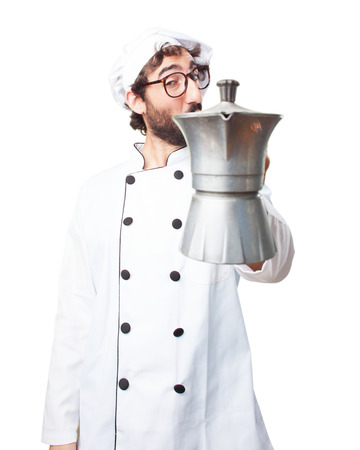 caffeine free: crazy chef happy expression Stock Photo