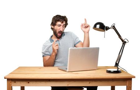 gente loca: joven loco con expresión de tabla .happy Foto de archivo