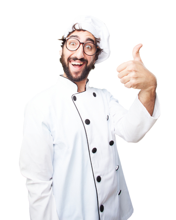 allright: crazy chef happy expression Stock Photo