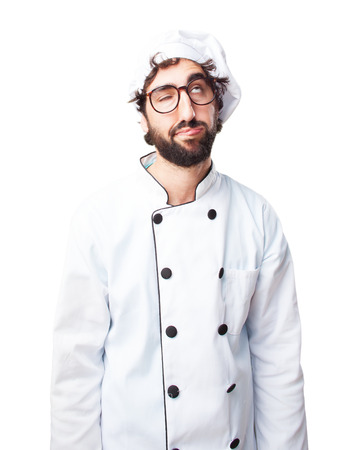 crazy chef sad expression Stock Photo