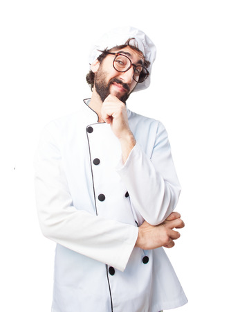 restaurant questions: crazy chef happy expression Stock Photo