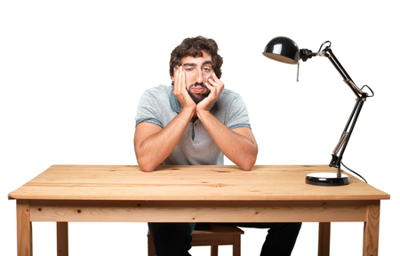 tedious: crazy man sad expression