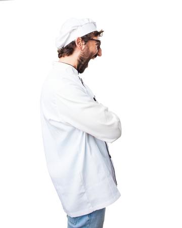 molesto: cocinero loco expresión de enojo