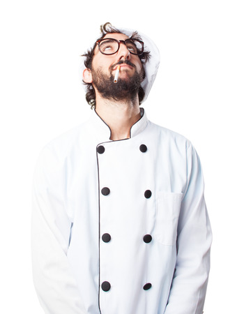 crazy chef sad expression Stock Photo