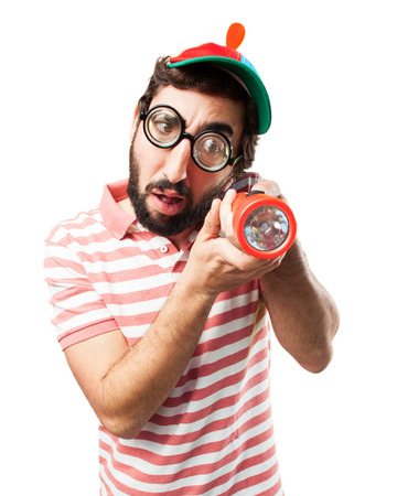crazy young man surprised expression Stock Photo