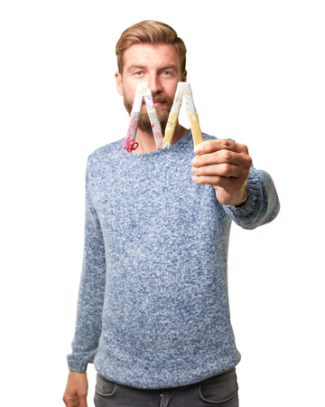 blond hipster man. happy expression Stock Photo