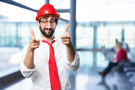 young funny architect proud pose Stock Photo